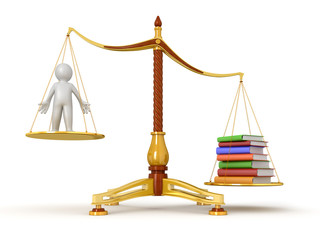 Justice Balance  with Books and man (clipping path included)