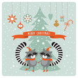 cute funny raccoons , greeting card