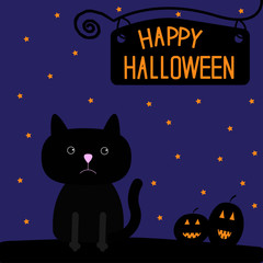 Happy Halloween black cat and pumpkins card.