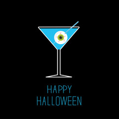 Martini glass with blue cocktail and eyeball. Halloween card.