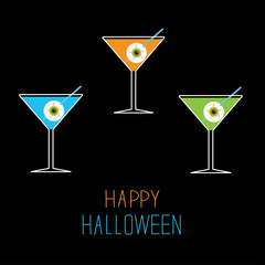 Martini set. Happy Halloween card.