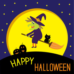 Flying cartoon witch and cat. Big moon. Happy Halloween card.