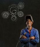 African man industrial worker with hamster gears background