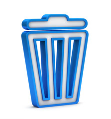 blue trash bin icon on a white background