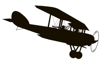 Vintage airplane. Vector silhouette