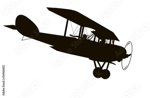 Vintage airplane. Vector silhouette - 56466602