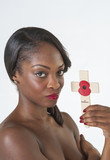Black woman with Remembrance cross and poppy