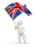 Man and United Kingdom flag (clipping path included)