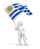 Man and Uruguayan flag (clipping path included)