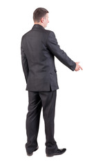 side view of Businessman  in black suit  handshake