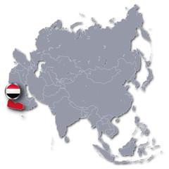 Asienkarte mit Jemen