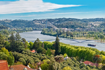 The Mondego river scenic hills in Portugal