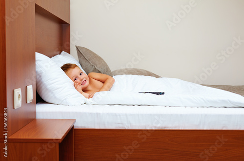 happy kid ready to sleep in bedroom