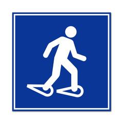 Cartel simbolo hombre andando con raquetas de nieve