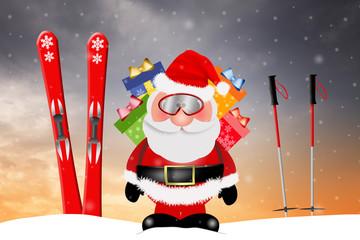 Santa Claus with ski for Christmas