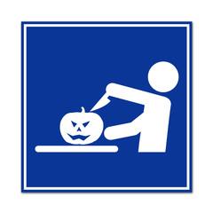 Cartel simbolo talla de calabaza de Halloween