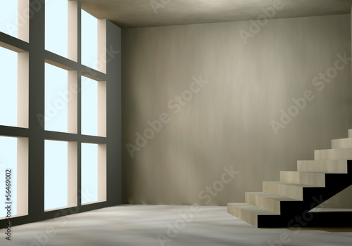 3D concrete wall and large window