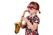 little girl play saxophone on white