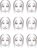 Vector illustration of women's facial expressions