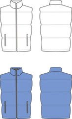 Vector illustration of winter quilted waistcoat