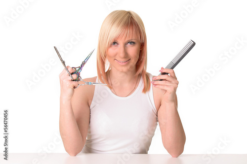 girl with hairdresser's tools isolated on white background