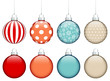 Collection of 8 Christmas Balls Retro