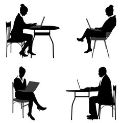business people working on their laptops silhouettes - vector