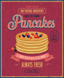 Vintage Pancakes Poster. Vector illustration.