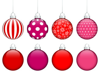 Collection of 8 Christmas Balls Red/Pink