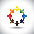 Concept vector of colorful school kids icons holding hands
