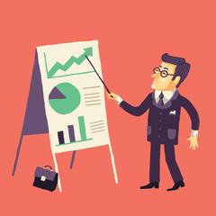 Бизнесмен и презентация его проекта на встрече или семинаре.