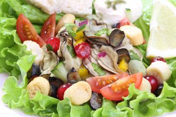 oyster salad with berries fruit