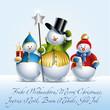 Drei Schneemänner mit internationalen Weihnachtsgrüßen