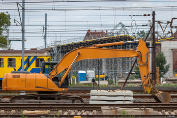 Construction of a new railway line and the viaduct over