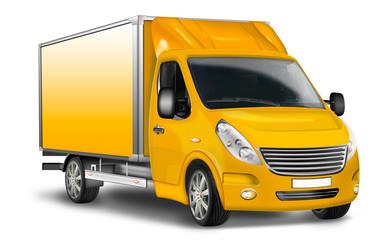Transporter gelb, freigestellt, isoliert