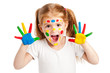 Three Year Old Gilr With Brightly Painted Hands