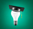 bulb with graduation hat