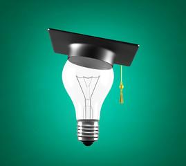 bulb with graduation hat
