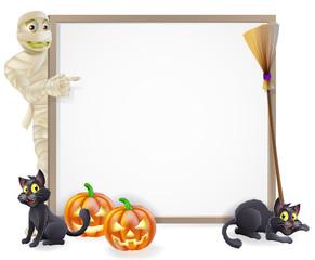 Mummy Halloween Banner Sign
