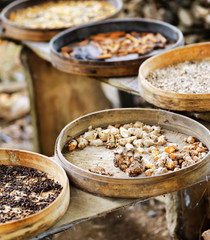 Various spices are drying at open air