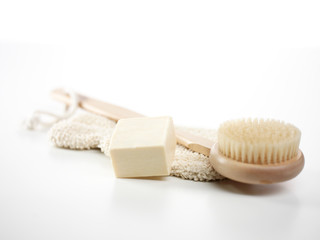 Aromaseife mit Waschlappen und Bürste