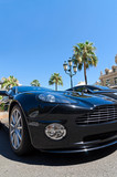 Expensive sports car in Monaco with palm trees and blue sky