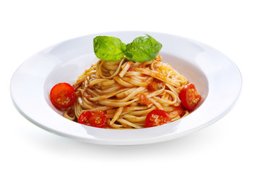 pasta with tomato sauce and green basil