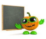 Pumpkin teaches at the blackboard