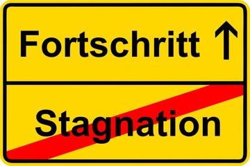 130923-Ortsschild-Fortschritt-Stagnation