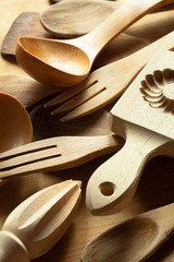 Close-up of wooden kitchen utensils