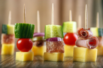 Party nibbles on cocktail sticks