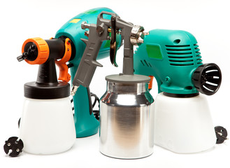 The tool for painting.spray gun electrical and manual mechanical
