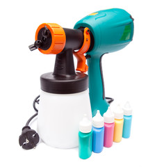 electrical spray gun for coloration and color