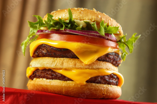 Homemade double burger , low angle view....